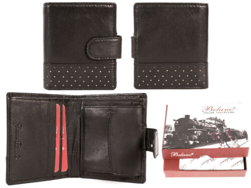 Belano Italian Collection Mens Bi-Fold Soft Leather Black Wallet In Gift Box