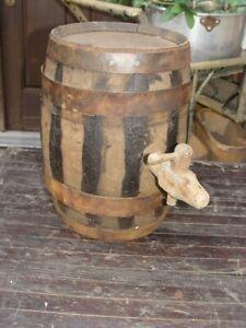 Small-Vintage-Whiskey-Oak-Keg-Barrel-with-Spigot-on-Side-Primitive