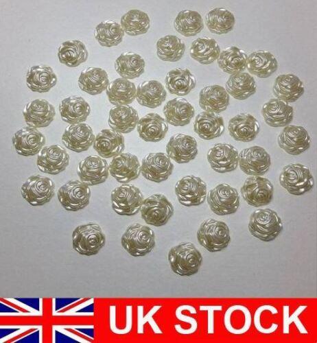50 XWHITE//Ivory 12 mm Rose Flower Flat Back Beads Wedding Craft Embellishment