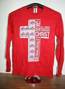 Ohio-State-Pride-Cross-All-things-Through-Christ-Long-Sleeve-T-Shirt-Small-Red