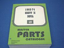 62-74 CHEVY II NOVA MASTER PARTS CATALOG - Aug 1974 printing