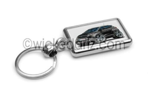 RetroArtz Cartoon Car Ford Kuga Crossover SUV in Black Premium Metal Key Ring