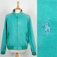 VINTAGE RALPH LAUREN COTTON ZIP BOMBER JACKET HARRINGTON PASTEL GREEN WAVEY XL