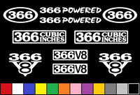366 V8 Powered 10 Decal Set Truck Engine Stickers Emblems Fender Badge Decals