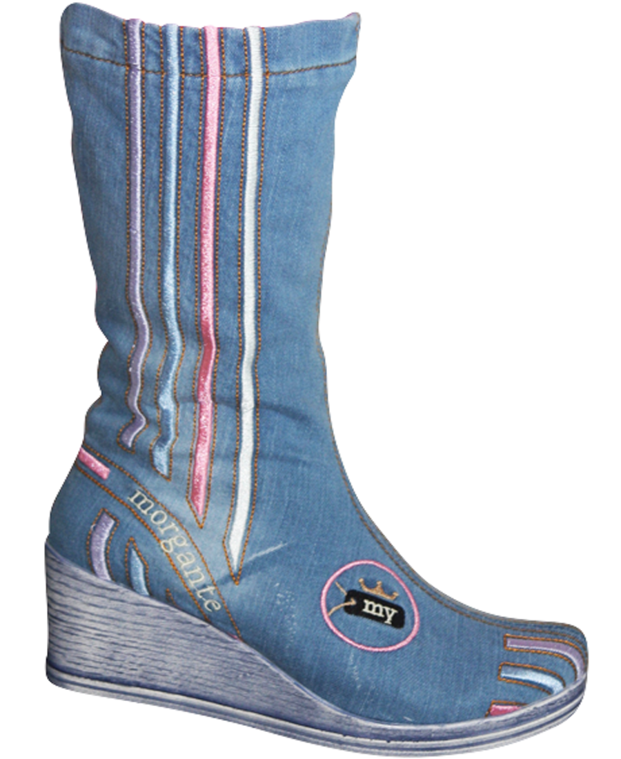 Jeans Stiefel (7 mit Keilabsatz (7 Stiefel cm) High-Denim/Reißverschluss/Streifen/MM13113 8d6205