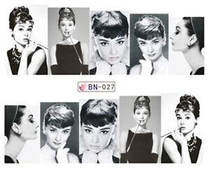 Black & White Audrey Hepburn Full Wrap Water Transfers Nail Art ...