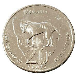 Australia-2001-Federation-Centenary-Tasmania-20c-Uncirculated-Coin-Loose-RAM