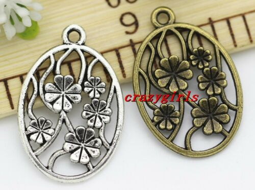 10//50pcs Antique Silver//Bronze Round Flower Alloy Jewelry Charms Pendant 32x21mm