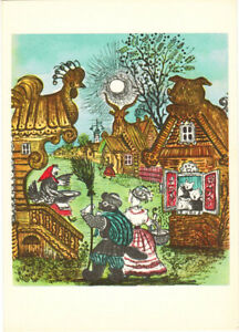 1964-Russian-postcard-Limping-Cat-Vasily-with-wife-Other-Animals-Yu-Vasnetsov
