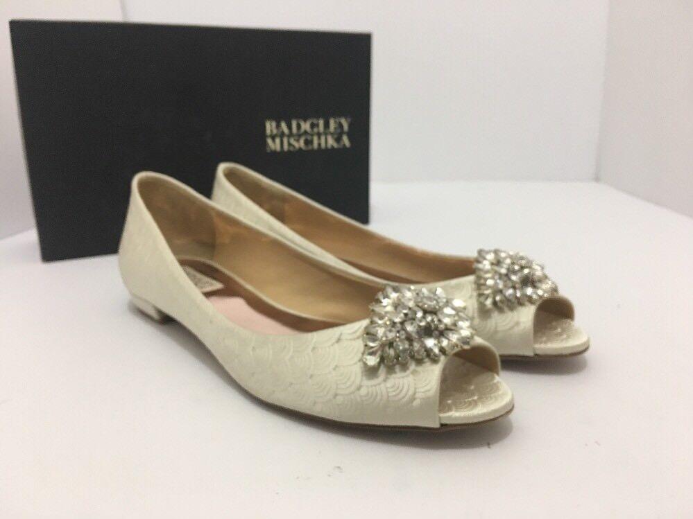 Badgley Mischka Taft Ivory Satin Women's Bridal Open Toe Flats Pumps US 8.5 M