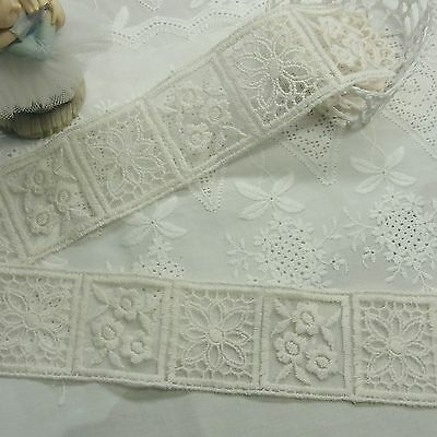 Antique Style Cotton Fabric Embroidery Crochet Lace Trim Doll Dress 4.5cm 1yard