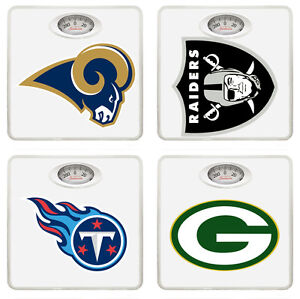 FC351 NFL FOOTBALL LOGO TEAM THEMED WHITE BATHROOM DIAL WEIGHT SCALE POUNDS LBS