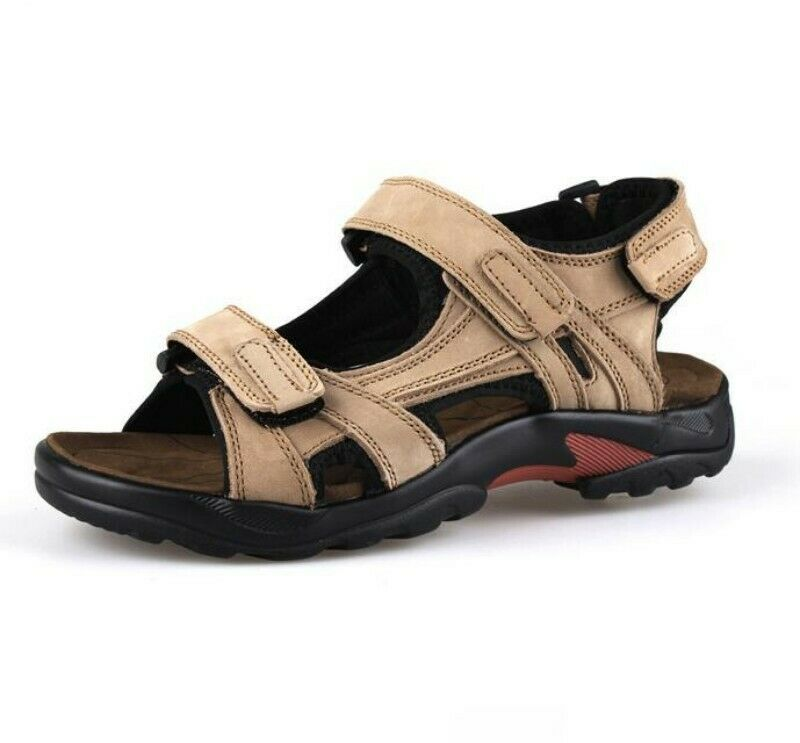 Men's Roma Leather Cut Out Beach Sandals Outdoor Leisure Athletic shoes Fashion