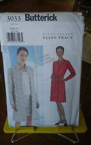 Oop-Butterick-Ellen-Tracy-3033-misses-coat-dress-jacket-skirt-belt-sz-8-12-NEW