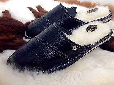 ** Para Hombre Zapatillas Mula Zapatos De Cuero Negro De Lana Talla 7 8 9 10 11 12 13 Flip-flop