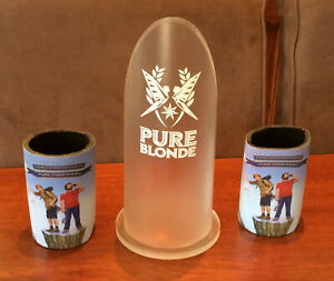 Rare-Pure-Blonde-Beer-Display-amp-Stubby-Can-Cooler-Holder-x-2