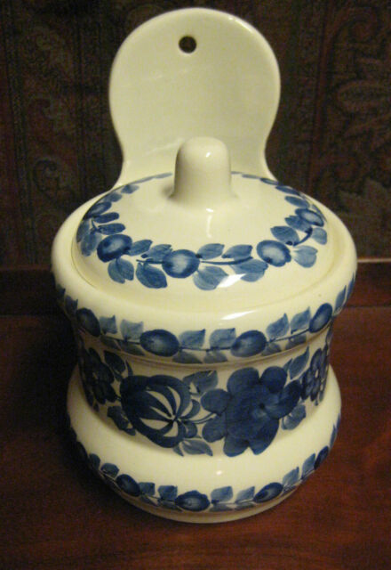 VINTAGE BLUE & WHITE SALT BOX / CANISTER HAND PAINTED  ZF KOLO  POLAND