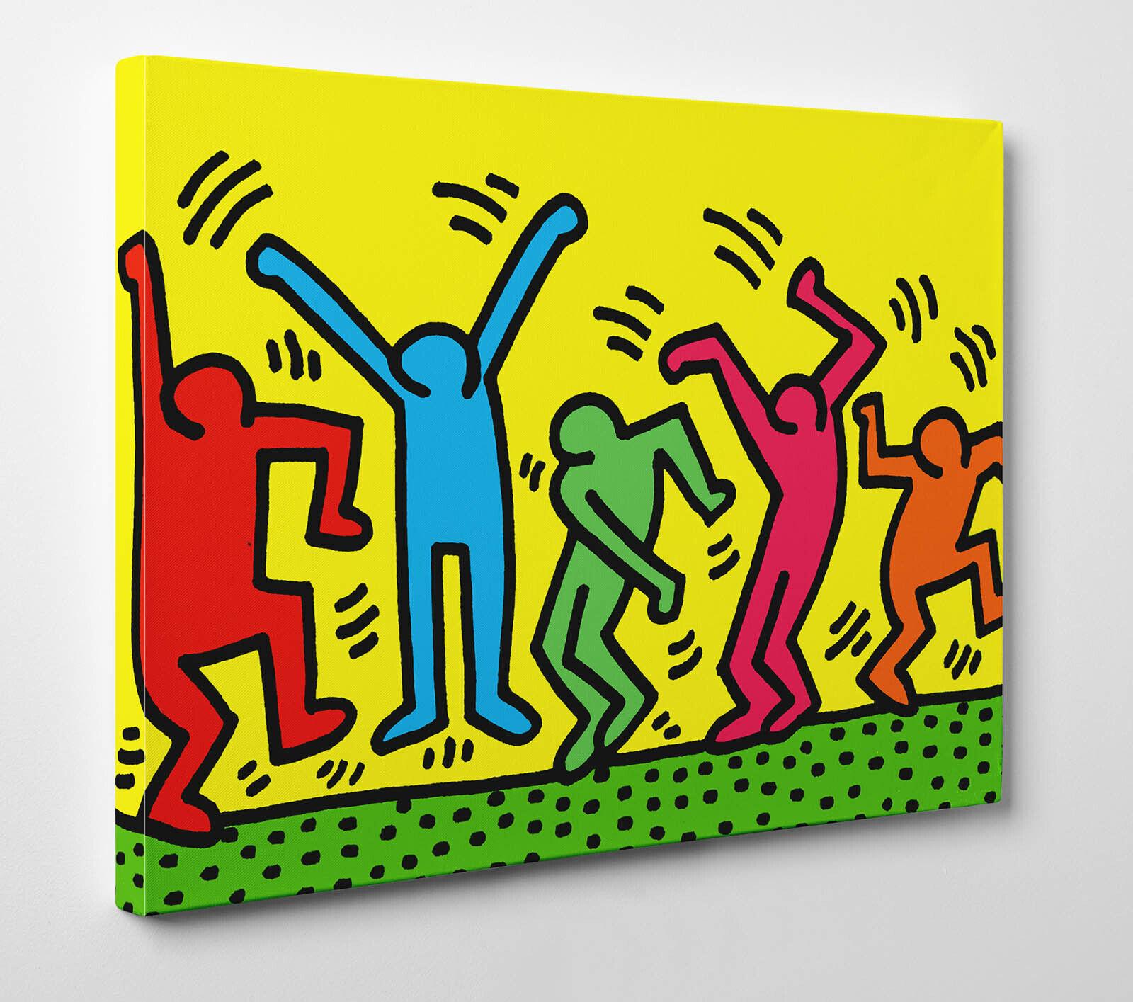 Quadro Pannello HARING Dancers Ballo Pop Stampa su Tela Vernice Pennellate