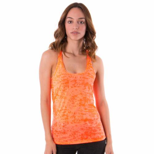 Women/'s Tank Top T-Shirt Burnout Racerback Sleeveless Fashion Yoga Gym  Made USA