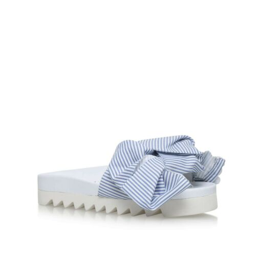 JOSHUA SANDERS Blue & White Bow Striped Pool Slides Size UK 4 EU 37 New RRP £235