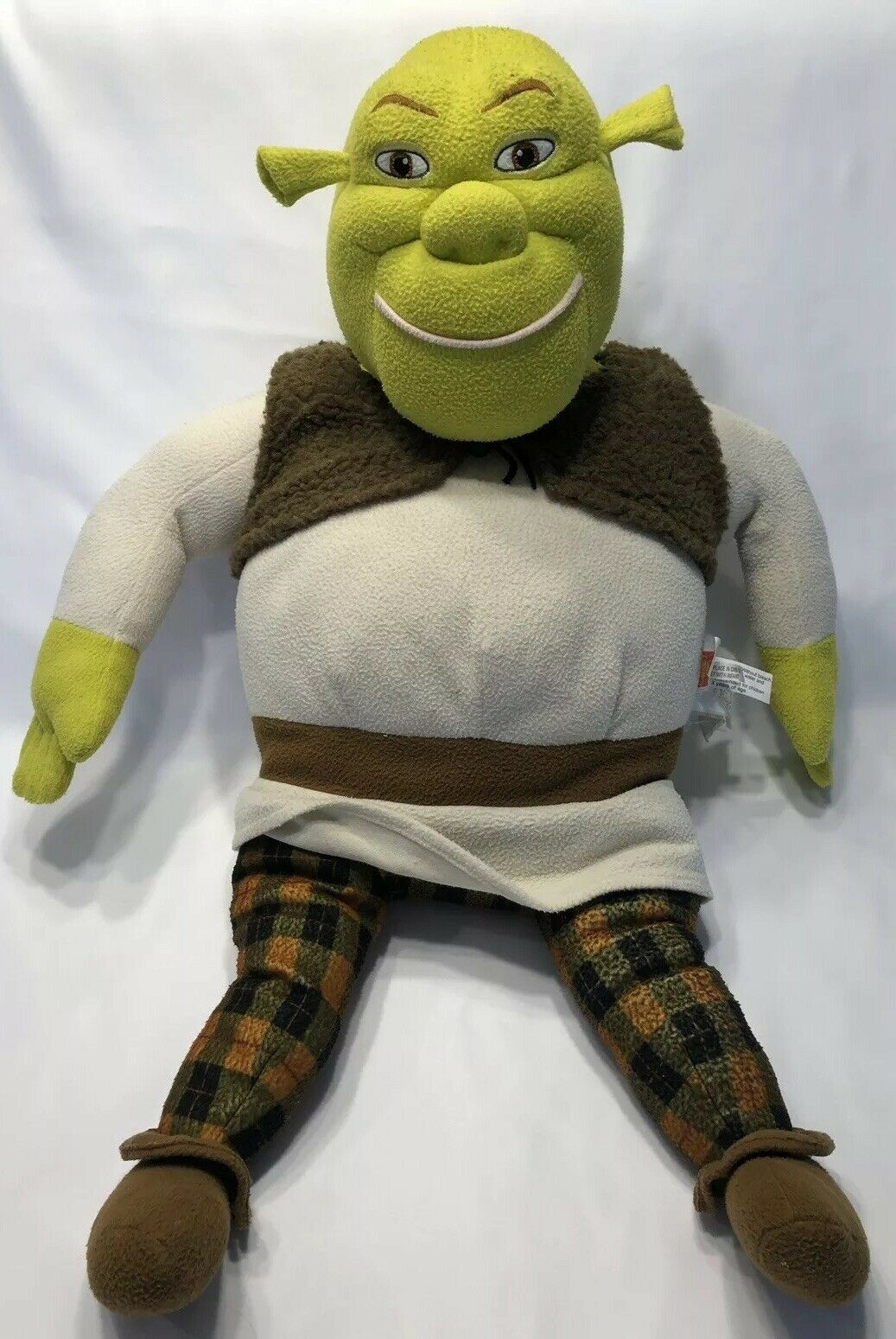 Shrek 2 Plush 29  2004 Jumbo Stuffed Stuffed Stuffed Pillow Green Ogre Plaid Pants, Vest e07517