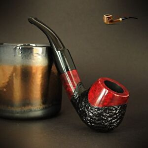 HAND-MADE-WOODEN-TOBACCO-SMOKING-PIPE-BRUYERE-no-72-Rustic-Red-Briar-BOX