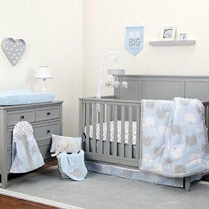 Nojo Dreamer Collection 8pc Elephant Blue Grey Crib Bedding Set