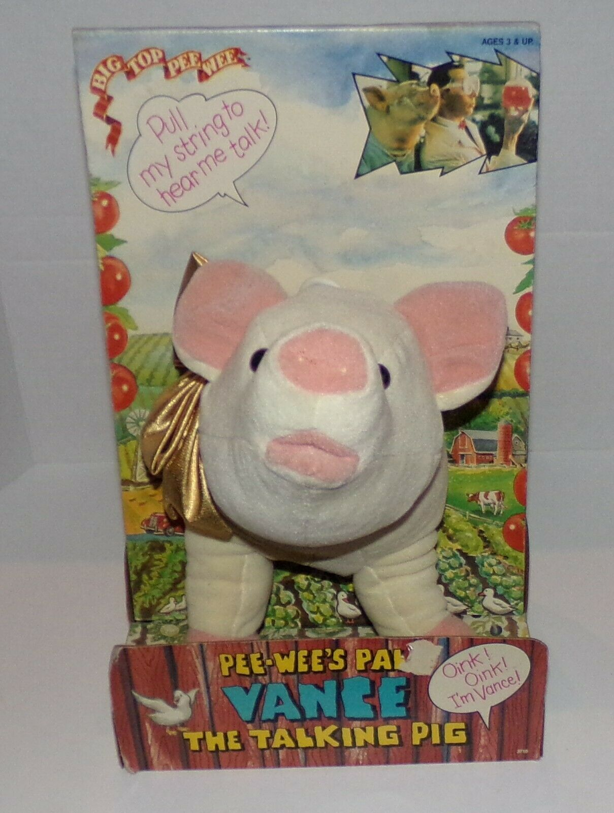 Pee-Wee's Pal Vance The Talking Pig Pull String Plush Toy 1988 Matchbox NIB