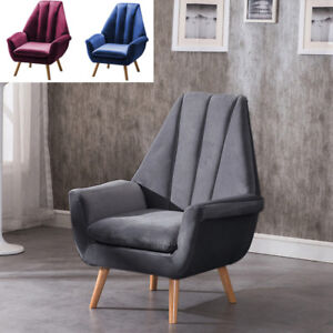 Modern Velvet Accent Living Room Chair Armchair Tub Sofa