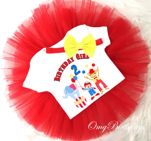 2nd Second Birthday Girl Tutu Outfit Set Shirt Circus Big Top Primary Clowns Red