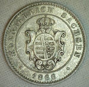 1866-B-German-States-sachsen-albertinischer-2-Neu-Groschen-20-Pfennig-KM-1220-XF