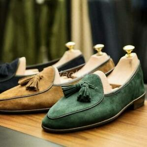 Mens-Suede-leather-Tassels-Bowtie-Slip-on-Loafers-moccasins-Dress-casual-Shoes