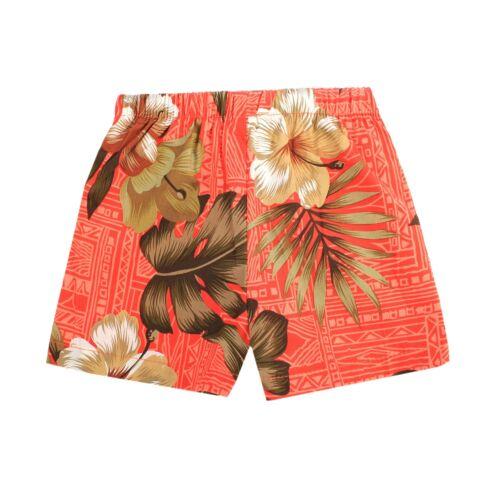 Boy Toddler Aloha Set Shorts Beach Hawaii Cruise Luau Cotton in Orange Hibiscus
