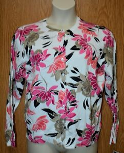 ab0faca437b59 Womens Pretty Pink White Floral Karen Scott Sweater Size PXL NWT NEW ...