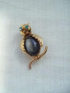 Vintage Jelly Belly Diamante Ojos Hermoso Búho Con Broche Pin
