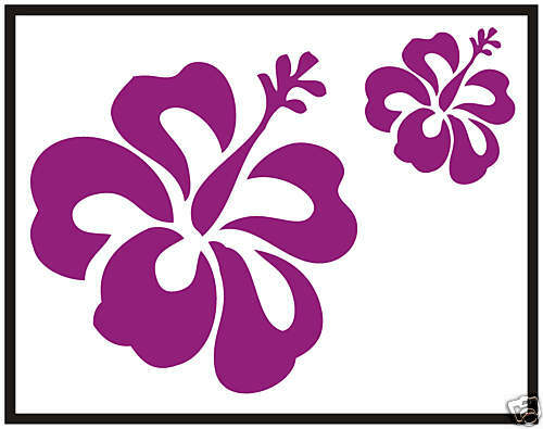 24 Purple Hibiscus Car Flower Stickers Decals Graphics Wall Window