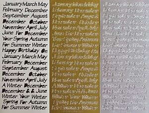 Calendar-Months-amp-Seasons-PEEL-OFF-STICKERS-Your-For-Month-Season-Cardmaking