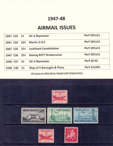 1947-48 Airmail Issues for Years Mint Never Hinged Original Gum