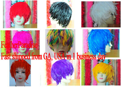 Blue Hackle Feather Wig Halloween Wig Costume