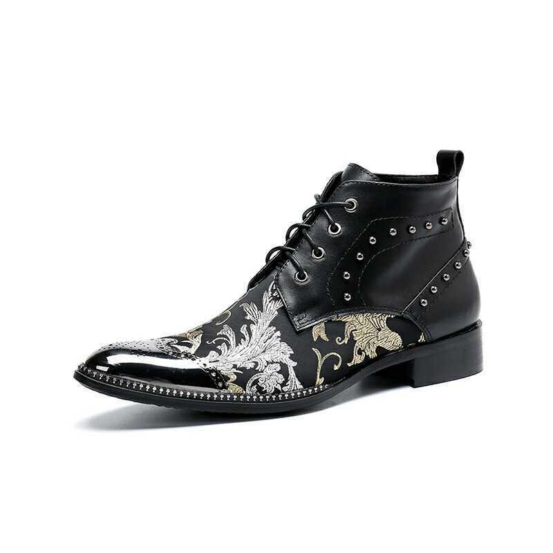 Casual Men Leather Business Rivet Floral Ankle avvio  Lace su Winter Punk scarpe  autentico online