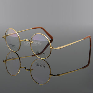ce46509a6b Image is loading 44mm-Round-Vintage-Pure-Titanium-Gold-Eyeglass-Frames-
