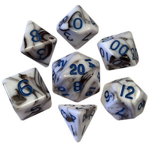 7 COUNT DICE POLY SET: 16MM MARBLE WITH BLUE NUMBERS NEW