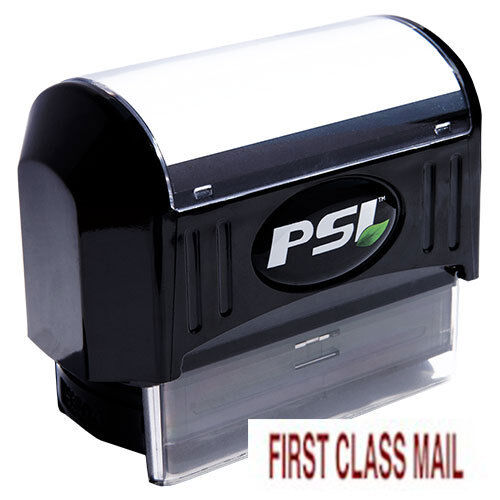 RED FIRST CLASS MAIL Pre-Inked PSI Rubber Stamp