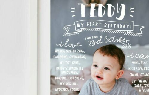 Boy/'s Girl/'s 1st Party Decoration Printable First Birthday Milestone Board