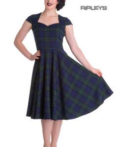 Hell-Bunny-Pinup-50s-Dress-ABERDEEN-Green-Blue-Tartan-Dublin