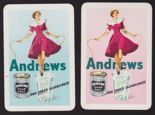 2 Single VINTAGE Swap//Playing Cards ANDREWS LIVER SALT Skipping Girls Ladies