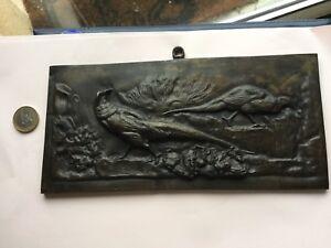 Plaque-En-Bronze-Tres-Ancienne-Theme-Animalier