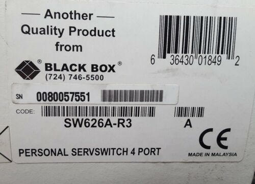 Black Box SW626A-R3 Personal ServSwitch 4-Port KVM Computer Switch 6VDC