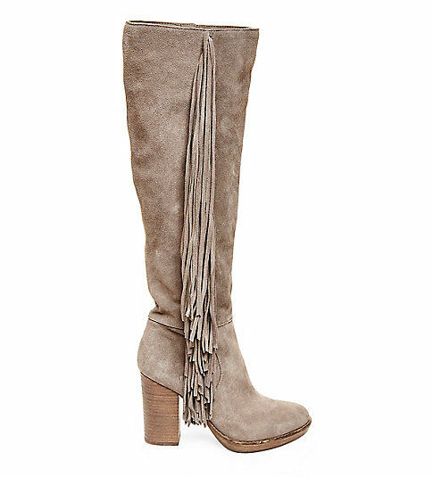 NEW STEVE MADDEN  249 TAUPE SUEDE FRINGERR BOOTS HEELS SHOES SZ 9.5