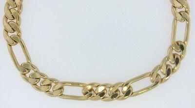 "8"" 18K Gold Plated Figaro Chain Link Bracelet  8mm - Lifetime Warranty"